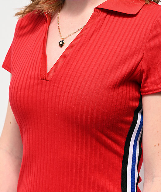 Almost Famous Ribbed Red Polo Dress