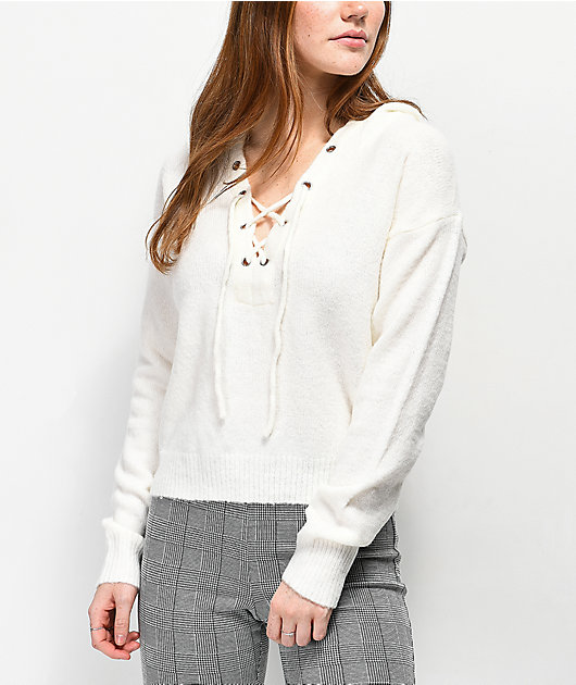 Almost Famous Sandy Lace Up Ivory Hooded Sweater