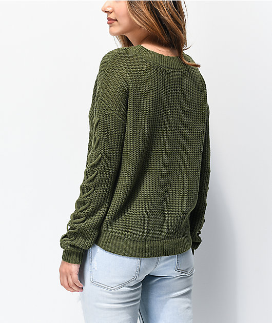 Almost Famous Shaker Stitch Olive V-Neck Sweater
