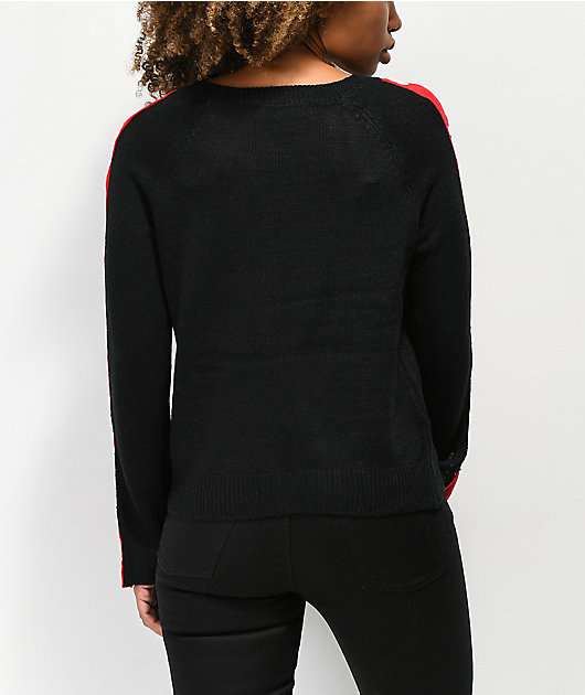 Almost Famous Snap Button Black Crew Neck Sweater