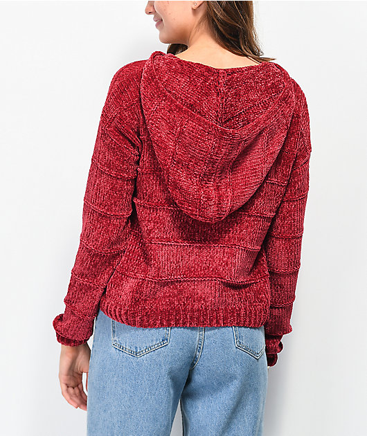 Almost Famous Sophie Chenille Burgundy Hooded Sweater