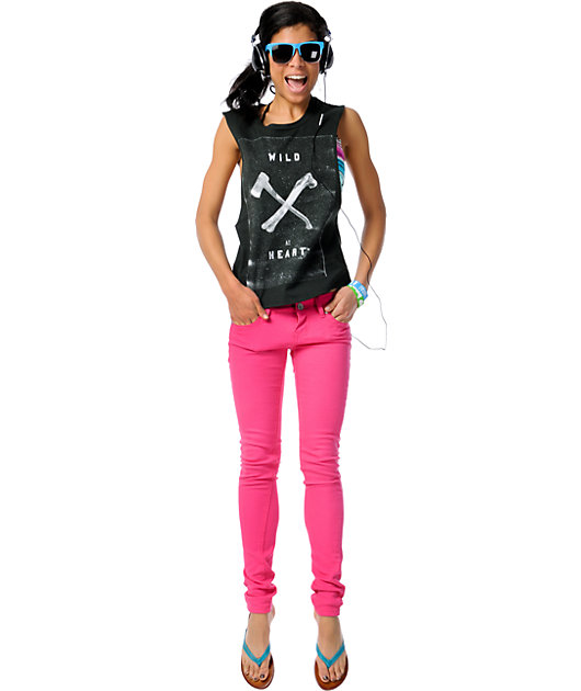 Almost Famous Tiffany Pink Skinny Jeans