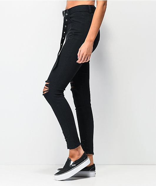 Almost Famous jogger pantalones de mezclilla negra con cinturón