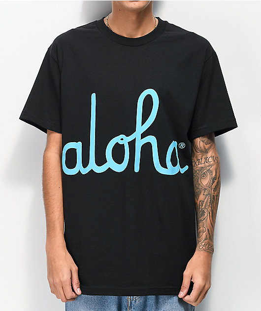 Aloha Army Script camiseta negra