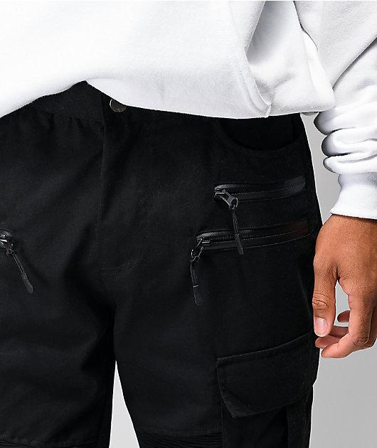 American Stitch Black Cargo Moto Twill Bungee Jogger Pants