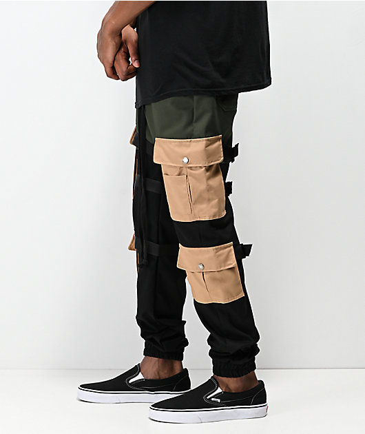 American Stitch Cargo Strap Olive & Khaki Jogger Pants
