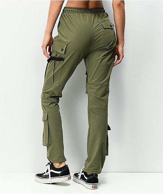 American Stitch Olive Nylon Cargo Pants