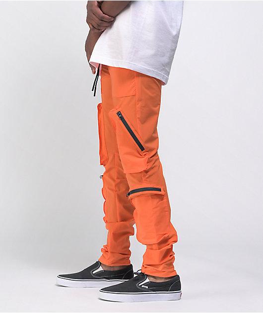 American Stitch Orange Nylon Cargo Pants