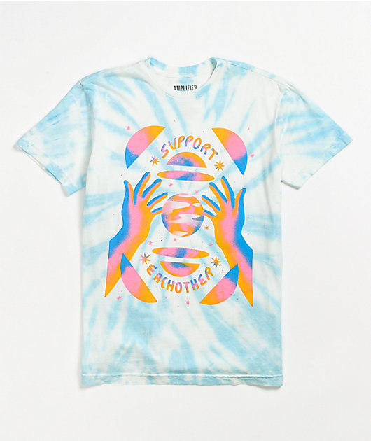 Amplifier Support Each Other Blue Tie Dye T-Shirt