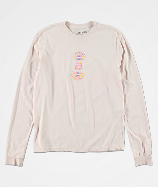 Amplifier Support Each Other Pink Tie Dye Long Sleeve T-Shirt
