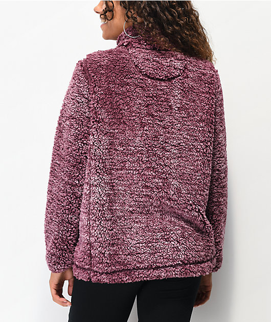 Angel Kiss Burgundy Sherpa Half Zip Sweater