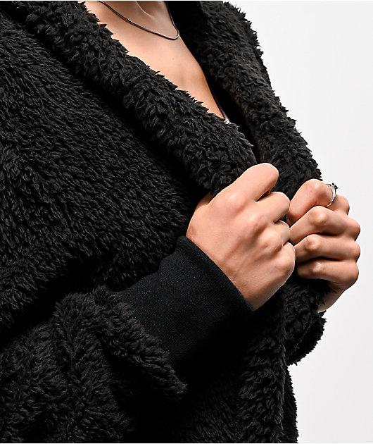 Angel Kiss Macy Black Sherpa Hooded Cardigan