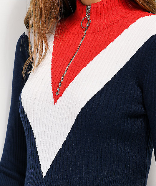Angel Kiss Mock Half Zip Red, White & Blue Sweater