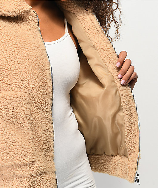 Angel Kiss Teddy Brown Sherpa Jacket