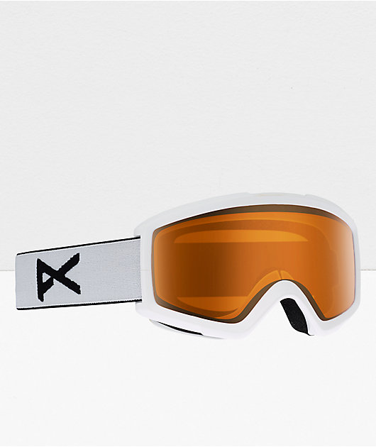 Anon Helix 2.0 White & Amber Snowboard Goggles