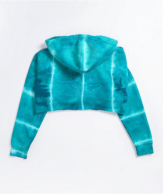 Anonymous Blue Tie Dye Crop Hoodie