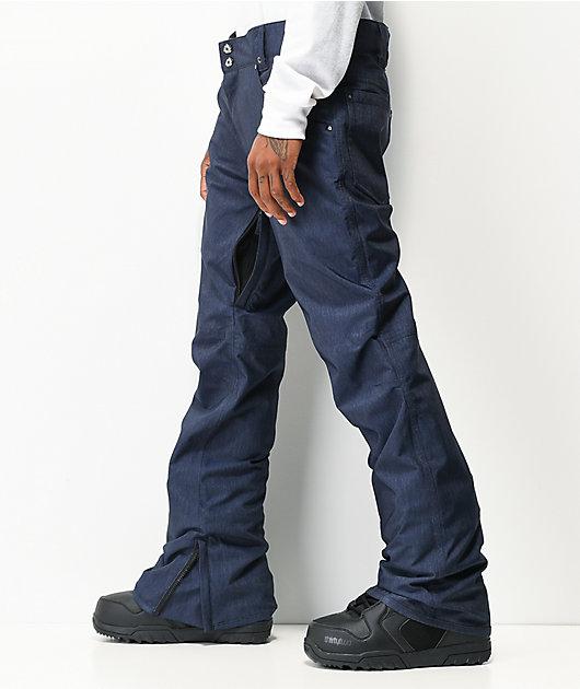 Aperture Green Line Navy Denim 10K Snowboard Pants