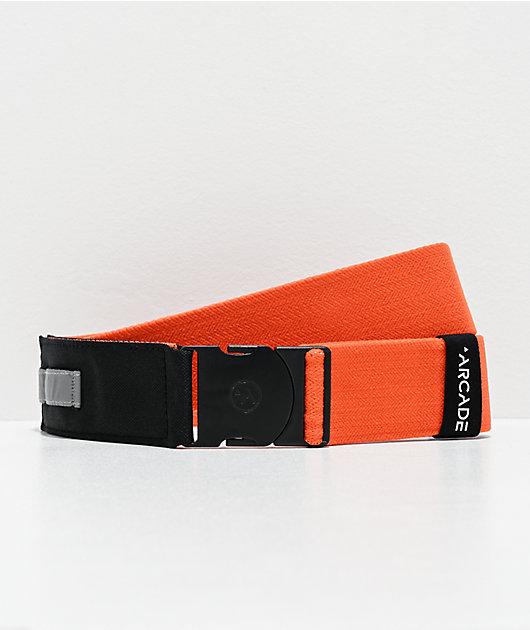 Arcade Nomade cinturón tejido plateado reflectante y naranja