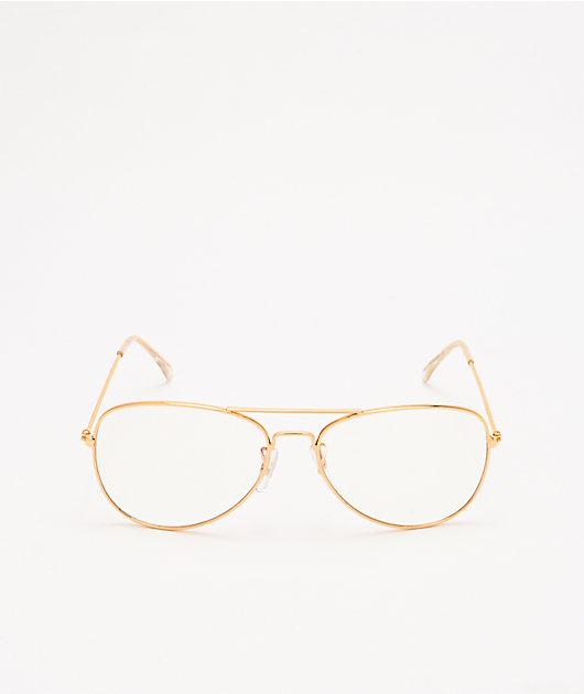 Aviator Gold & Clear Blue Light Glasses