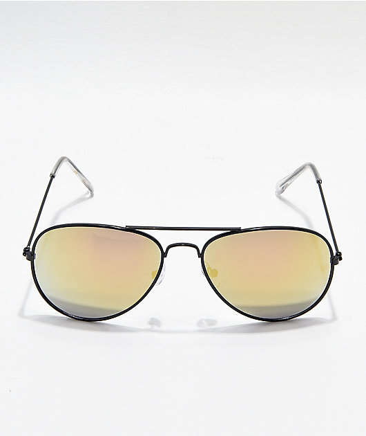 Aviator Shiny Black & Gold Mirror Sunglasses