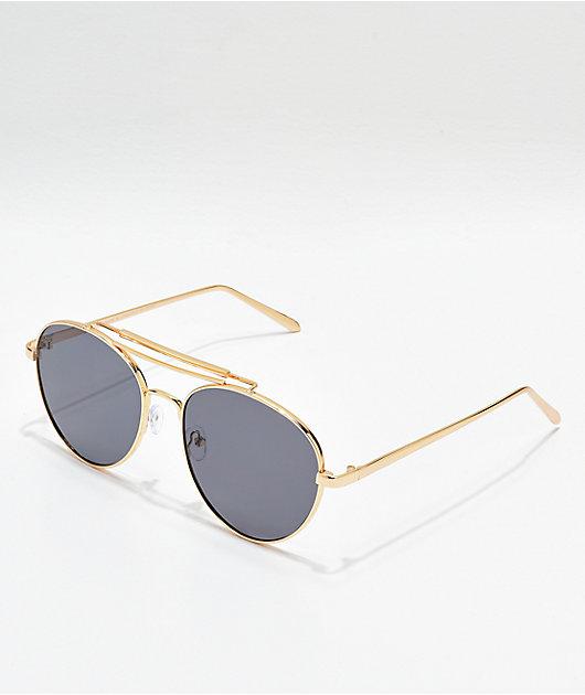 Aviator Shiny Gold & Smoke Sunglasses