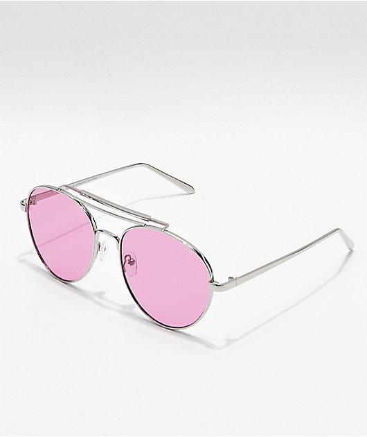 Aviator Shiny Silver & Rose Sunglasses