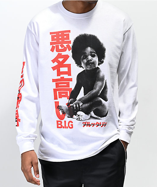 Biggie Baby Kanji White Long Sleeve T-Shirt