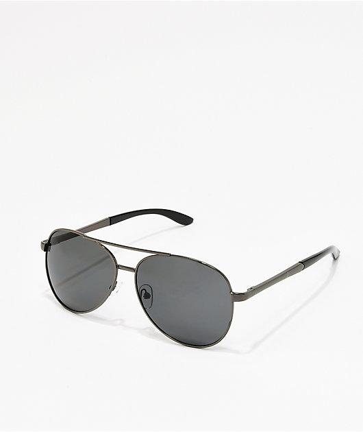 Black On Black Aviator Sunglasses