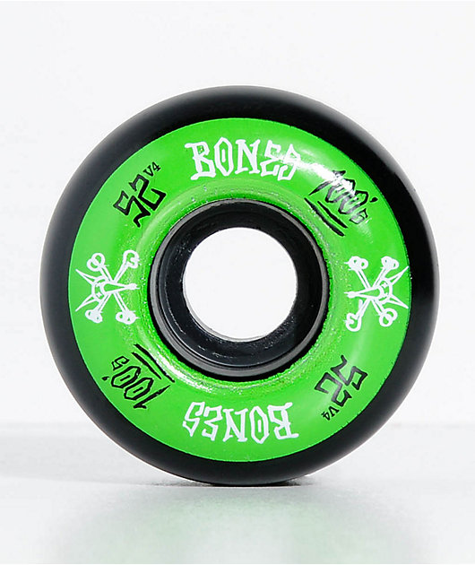 Bones 100 Ringers 52mm Green & Black Skateboard Wheels