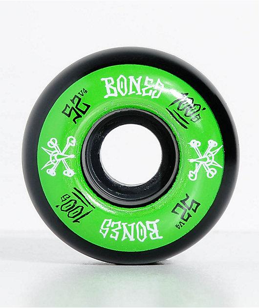 Bones 100 Ringers 52mm Green & Black Skateboard Wheels