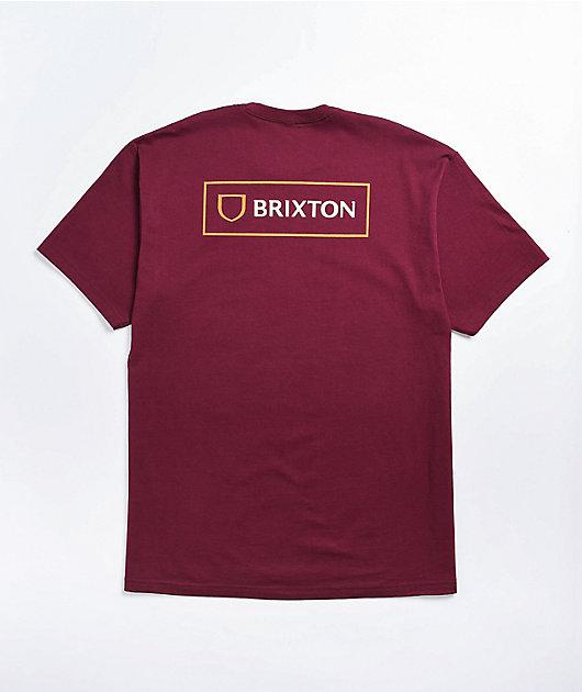Brixton Alpha Block Burgundy T-Shirt