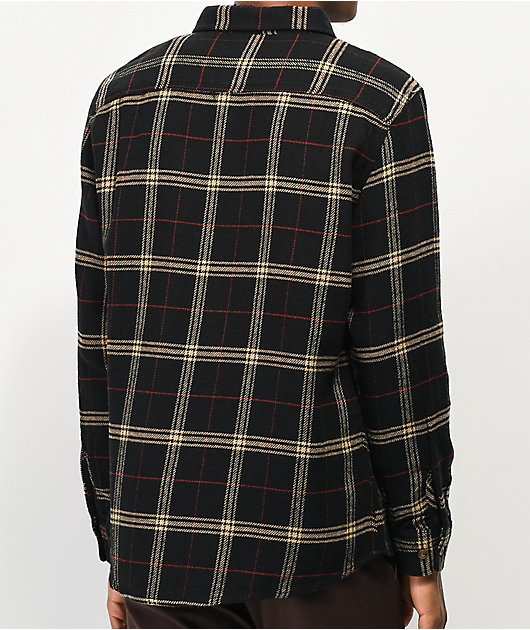 Brixton Bowery Black & Tan Flannel Shirt