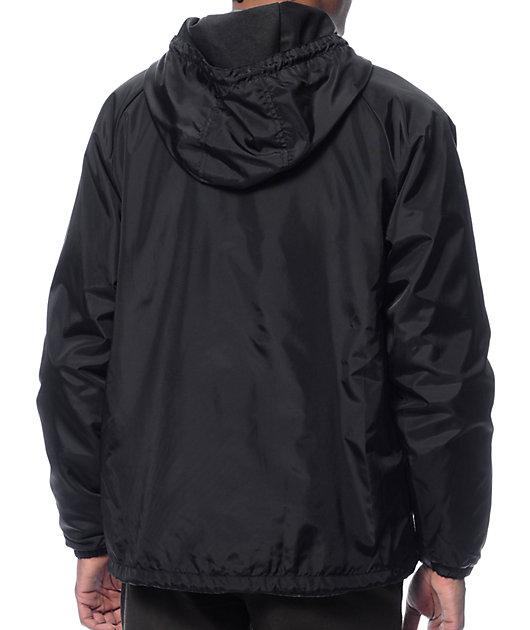 Brixton Claxton Black Hooded Windbreaker