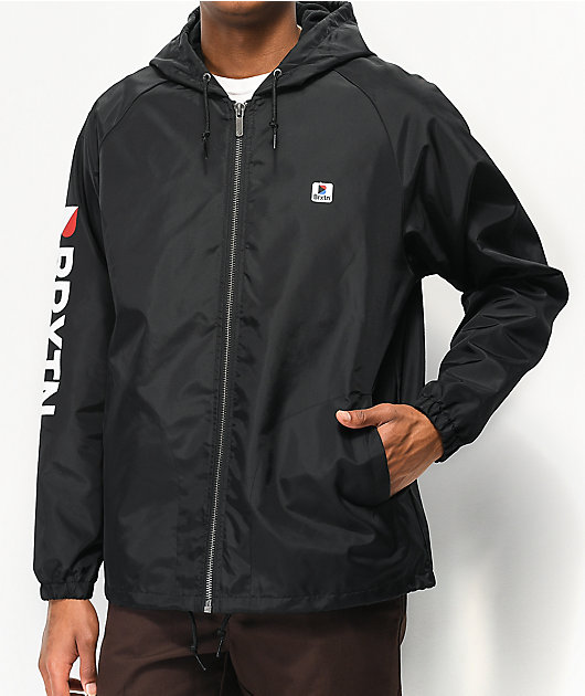 Brixton Claxton Stowell Black Hooded Windbreaker Jacket