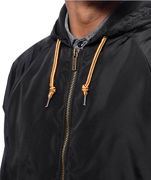 Brixton Claxton cortavientos con capucha en negro