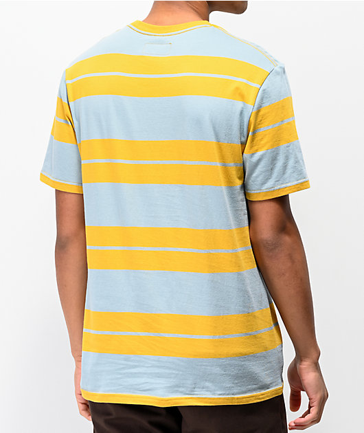 Brixton Hilt Gold & Blue Striped Pocket T-Shirt