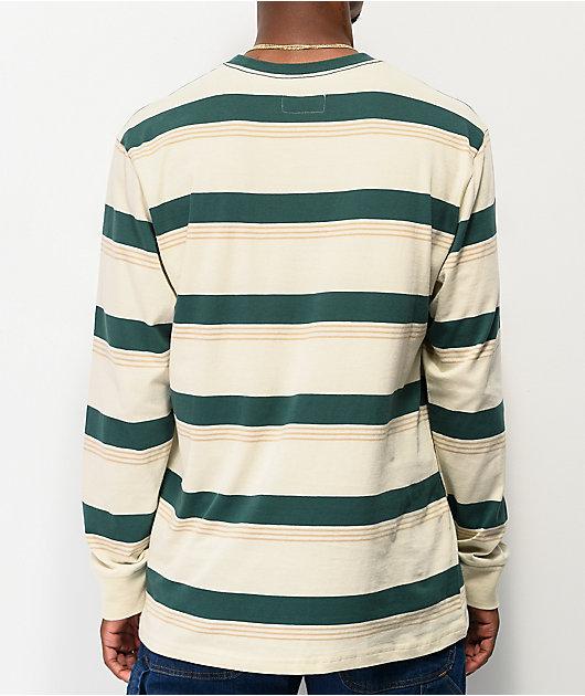 Brixton Hilt Green Stripe Long Sleeve T-Shirt
