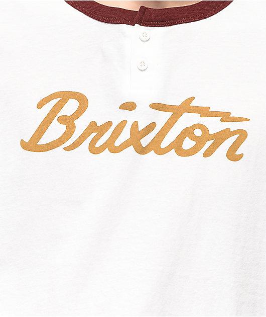 Brixton Jolt White & Maroon Henley T-Shirt