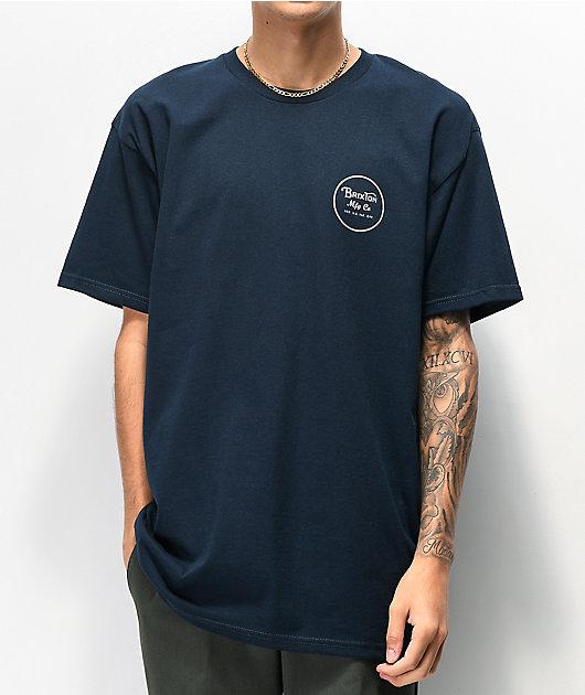 Brixton Wheeler II Navy & Pale Orange T-Shirt