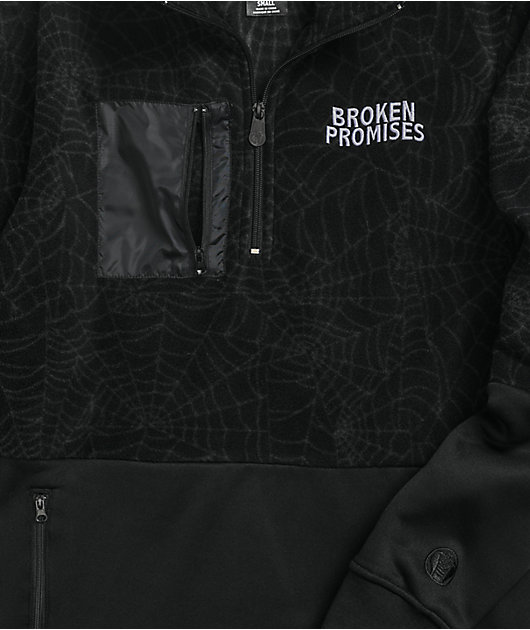 Broken Promises Dark Web Black Quarter-Zip Fleece Jacket