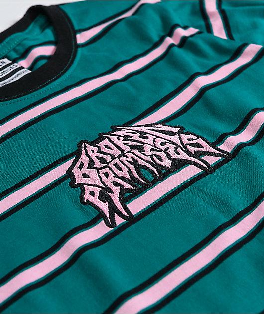 Broken Promises Destruction Green Striped Long Sleeve T-Shirt