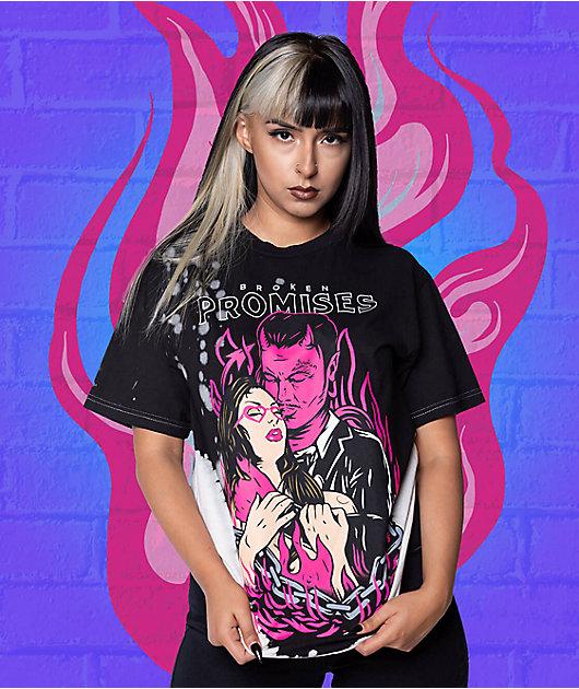 Broken Promises Devil Kiss Bleach Dye T-Shirt