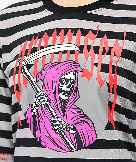 Broken Promises Die For Nothing Stripe Grey Long Sleeve T-Shirt