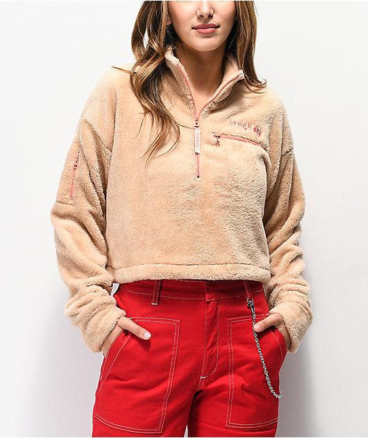 Broken Promises Do Better Sand Crop Half Zip Fleece Jacket
