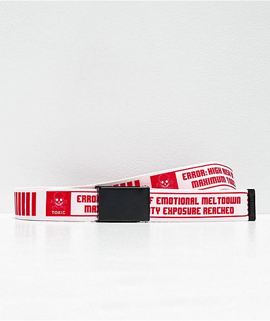 Broken Promises Emotional White & Red Web Belt