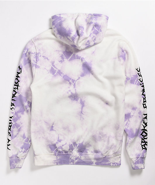 Broken Promises Emotional Wreck White & Purple Tie Dye Hoodie