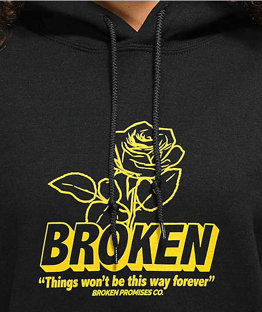 Broken Promises Evermore sudadera negra y amarilla con capucha