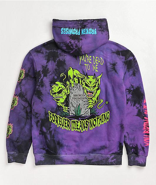 Broken Promises Grave Goblin Black & Purple Tie Dye Hoodie