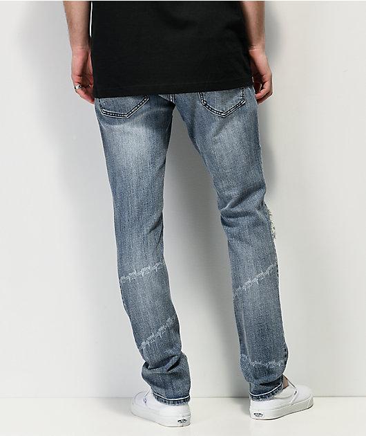 Broken Promises Heartless Laser & Barbed Wire Denim Jeans