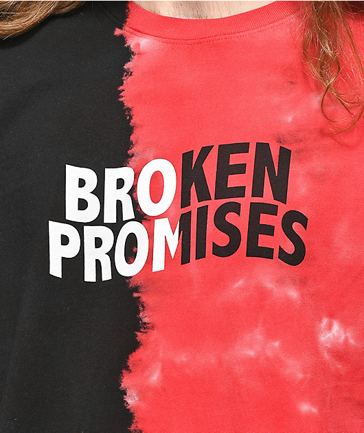 Broken Promises Logo Split Red & Black Tie Dye Long Sleeve T-Shirt